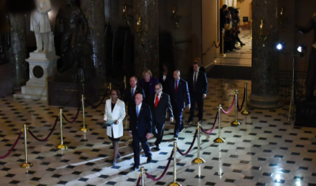 The rare and bizarre ritual of marching the impeachment articles from the House to the Senate House managers deliver impeachment articles to Senate